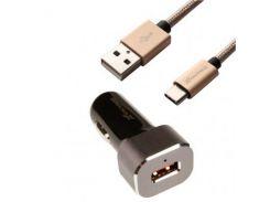 Зарядное устройство Grand-X 12-24V, Quick Charge QС3.0, + cable USB -> Type C, Cu, 3A, 1 (CH-27TC)