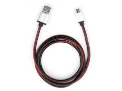 Дата кабель USB 2.0 AM to Micro 5P 1m pu leather black Vinga (VCPDCMLS1BK)