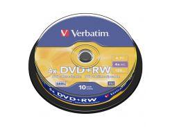Диск DVD+RW 10 Verbatim, 4.7Gb, 4x, Cake Box (43488)