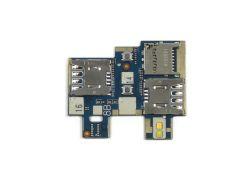 Коннектор Sim and MMC для Asus ZenFone GO (ZB551KL),  на шлейфе,  на две SIM-карты