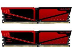 Память 16Gb x 2 (32Gb Kit) DDR4, 2400 MHz, Team T-Force Vulcan, Black/Red, 15-17-17-35, 1.2V, с радиатором (TLRED432G2400HC15BDC01)