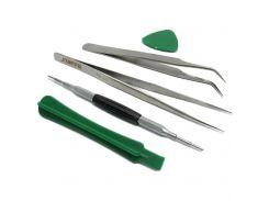 Набор инструментов BAKU BK-7285 для iPhone (пинцеты прямой и изогн, 2 инст для разборки,2х-стор.отв)