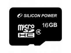 Карта памяти Silicon Power 16Gb microSDHC class 4 (SP016GBSTH004V10)