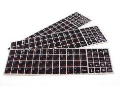 Наклейки на ноутбук черные на все клавиши (красные русские)