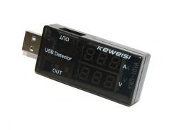 Тестер для USB Keweisi KWS-10VA Black, показывает напряжение (3-9V) и силу тока (0-3A)