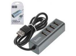 USB-хаб Hoco HB1, USB тип-A, 80 см, 4 порты, серый