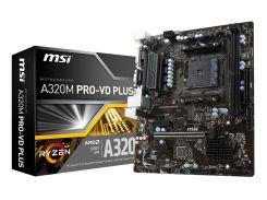 Мат.плата AM4 (A320) MSI A320M PRO-VD PLUS, A320, 2xDDR4, Int.Video(CPU), 4xSATA3, 1xPCI-E 16x 3.0, 2xPCI-E 1x 3.0, ALC887, RTL8111H,