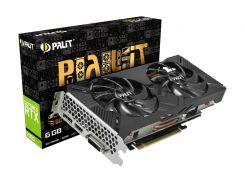 Видеокарта GeForce RTX 2060 OC, Palit, Dual OC, 6Gb DDR6, 192-bit, DVI/HDMI/DP, 1725/14000 MHz, 8-pin (NE62060S18J9-1160A)