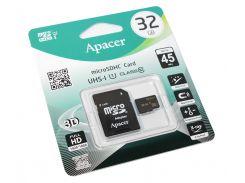 Карта памяти microSDHC, 32Gb, Class10, Apacer SD адаптер, AP32GMCSH10U1-R