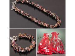 """Ожерелье и браслет из крошки натурального Турмалина """"Мой Дракон"""""""