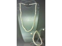 """Гарнитур: ожерелье, браслет и серьги из натурального белого жемчуга """"Анна"""""""
