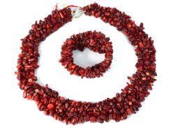 """Ожерелье и браслет из крошки Коралла """"Люблю, кохаю"""""""