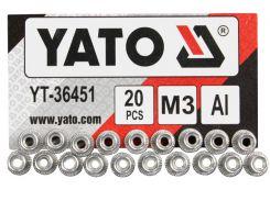 YATO Нітогайка алюмінієва ; М3, l= 9 мм, 20 шт.