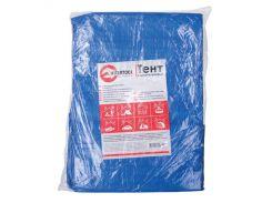 Тент синий, полиэтиленовый, плотностью 65г/м², с проушинами и двусторонней ламинацией, 3*5м