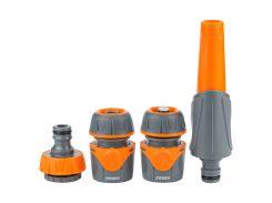 Набор для полива: насадка распылитель 2-х режимный, 2 коннектора, адаптер (ABS+TPR) FLORA 5011624