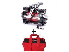 Компрессор автомобильный 12В INTERTOOL AC-0003 + Сумка инструментальная Intertool BX-9005