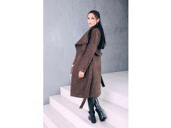Пальто женское весеннее классика из шерсти цвет горчичный Д 346