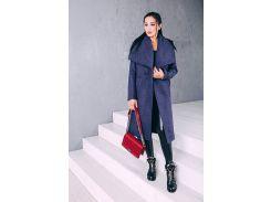 Пальто женское весеннее классика из шерсти темно-синее Д 346