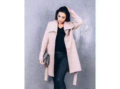 Женское весеннее пальто из шерсти Д 266 цвет бежевый