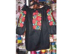 Вышиванка женская рубашка (большие маки ) LV-116