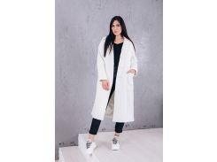 Пальто женское свободного кроя из кашемира цвет белый D12791
