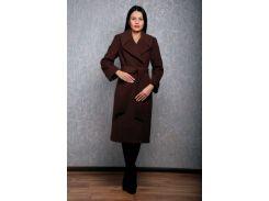 Пальто женское D1381 из кашемира цвет шоколад