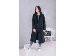 Пальто женское свободного кроя из кашемира цвет черный D12791