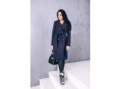 Женское пальто из шерсти D12581 цвет синий