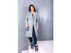Женское пальто из шерсти D12581 цвет светло-серый