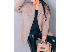 Пальто женское из шерсти D112 цвет бежевый