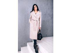 Пальто женское из шерсти D271 цвет бежевый