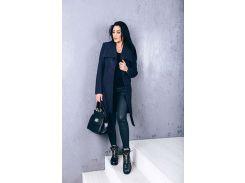 Пальто женское из шерсти D266 цвет темно-синий