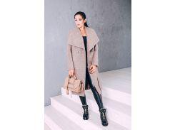 Пальто женское из шерсти D346 цвет бежевый