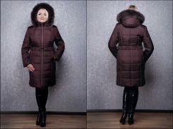 Пуховик женский К 103 евро бордовый PVC OZZE