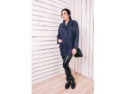 Женское весеннее пальто из шерсти цвета джинс Д112