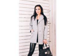 Женское весеннее пальто из светло-серой шерсти  Д112
