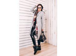 Длинное женское весеннее пальто из серой шерсти Д 246