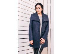 Женское пальто весеннее из шерсти синий джинс Д 220