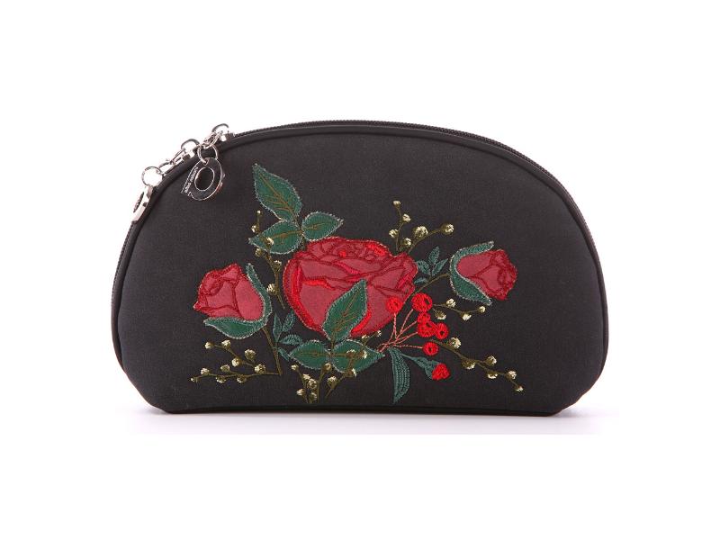 d2ba45ab247b Стильная черная косметичка с яркой вышивкой роз купить недорого за ...
