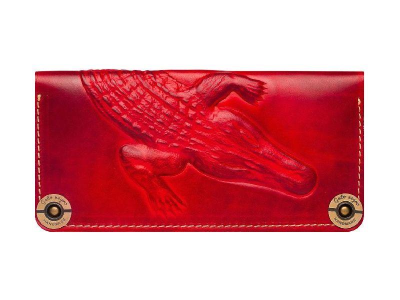 3f3266924179 Удивительное кожаное красное портмоне ручной работы с тисненным аллигатором  Киев
