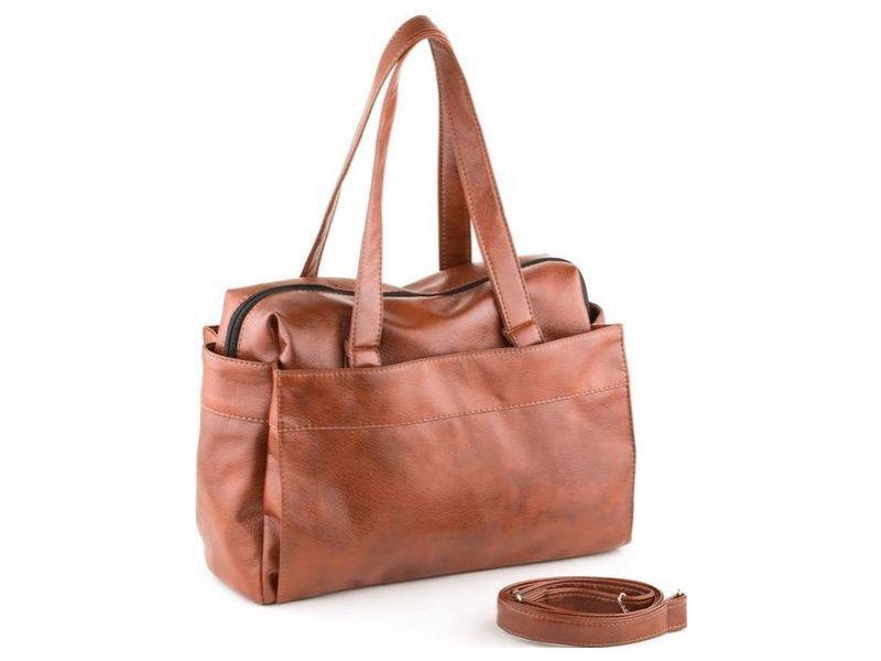 4f10b888e82e Вместительная и удобная повседневная женская сумка коньячного цвета Киев