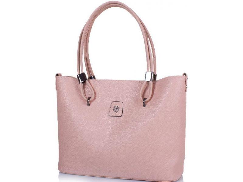 1a2b1ede6dab Вместительная модная светло-бежевая с розовым оттенком женская сумка с  сумочкой-косметичкой в комплекте