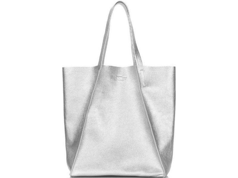 2dbafecedef6 Модная серебристая большая кожаная женская сумка купить недорого за ...