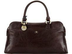 Классическая коричневая кожаная сумочка для стильных дам