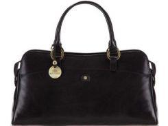 Классическая черная кожаная сумочка для стильных дам