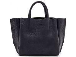 Модная сумка оригинального кроя из фактурной кожи черного цвета