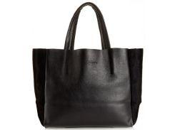 Шикарная черная кожаная сумка с вставками велюра