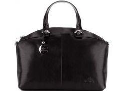 Черная повседневная сумка из качественной итальянской кожи