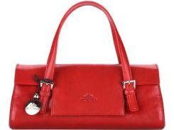 Элегантная женская сумка из натуральной кожи красного цвета
