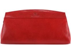 Яркий кожаный клатч красного цвета